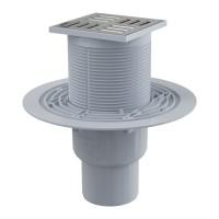 Bodenablauf 105 × 105/50/75 mit senkrechtem Abgang, Rost: Edelstahl, Geruchsverschluss mit Sperrwasser