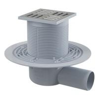 Bodenablauf Waagerecht 105X105/50 Duschablauf Badablauf Edelstahl begehbare Dusche  Flach Siphon Geruchsverschluss
