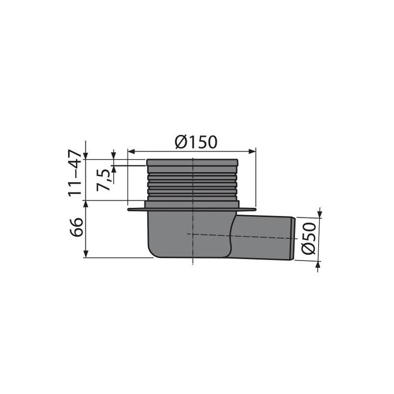 bodenablauf waagerecht 105x105 dn 50 duschablauf badablauf edelstahl begehbare dusche flach. Black Bedroom Furniture Sets. Home Design Ideas