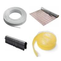50 m² Fußbodenheizung Set : Folie, Mehrschichtverbundrohr, Randband,Tackernadeln