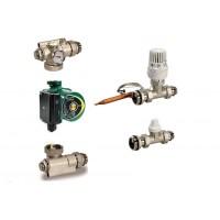 """DAB Festwertregelset für Fußbodenheizung mit  Pumpe Evosta 40-70-130  1"""" mit Ventilen und Thermostat 25-65 Grad OT100111"""