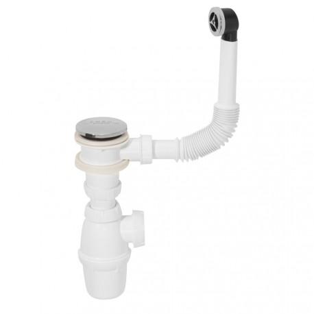 Siphon für das Waschbecken mit Push Open und Überlaufgarnitur